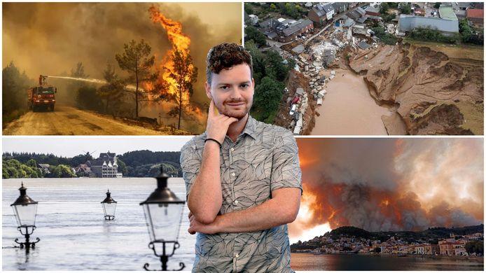 Bosbranden in Turkije (linksboven), overstromingen in Duitsland (rechtsboven), overstromingen in Limburg (linksonder) en bosbranden in Griekenland (rechtsonder). Volgens columnist Freek Verhulst is het hoog tijd dat we minder gaan doen in de strijd tegen de klimaatcrisis.