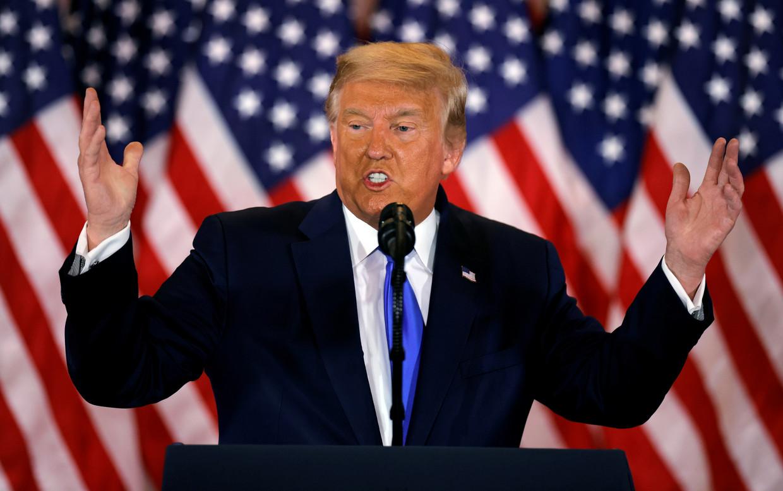 President Donald Trump tijdens zijn toespraak.  Beeld REUTERS