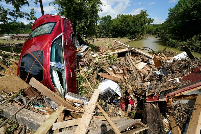 Schade na de overstromingen in Tennessee.