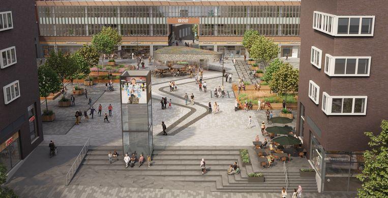 Impressie van het vernieuwde Bos en Lommerplein. Beeld Koolhoven & Partners
