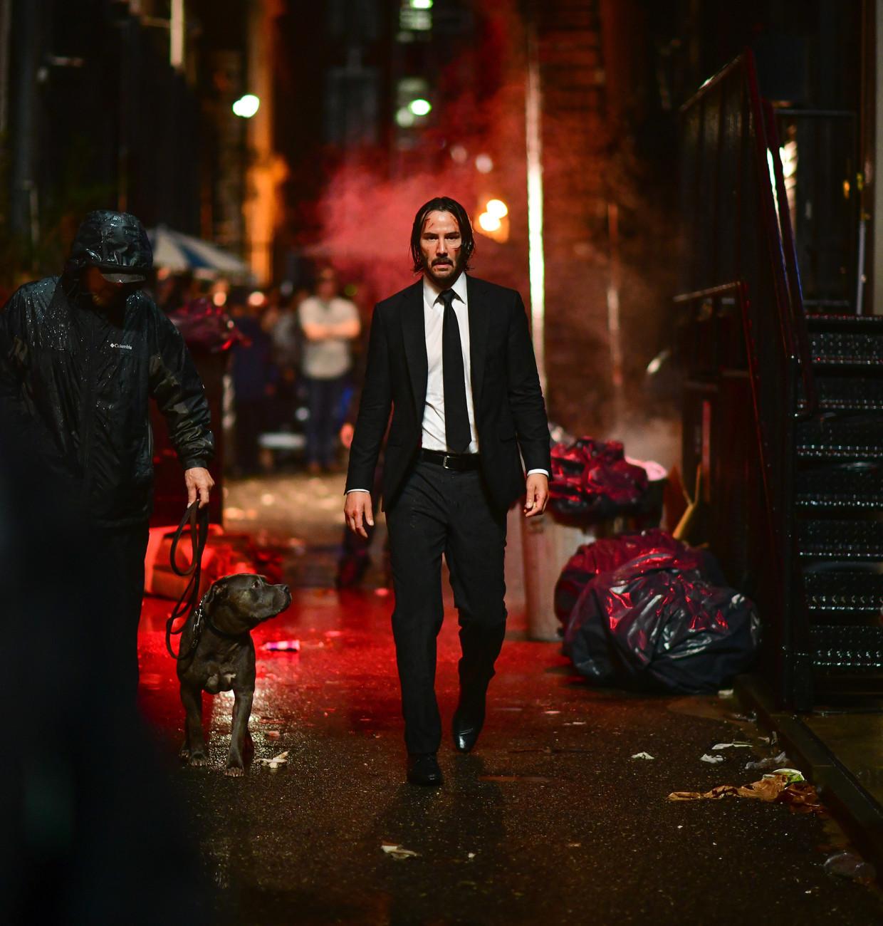 Keanu Reeves als John Wick, die in elke film dozijnen tegenstanders uitschakelt.