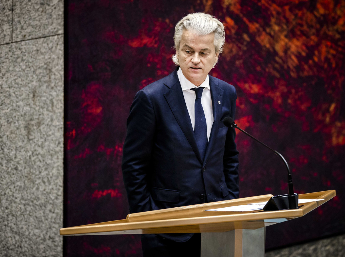 Geert Wilders (PVV) tijdens een debat in de Tweede Kamer