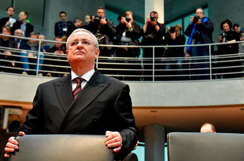 Martin Winterkorn ligt onder vuur vanwege het dieselfraudeschandaal bij Volkswagen. Beeld AFP