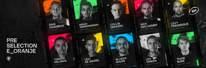 Tien spelers hebben het tot de voorselectie van E_Oranje geschopt, maar slechts vijf van hen halen uiteindelijk het digitale Nederlands Elftal.
