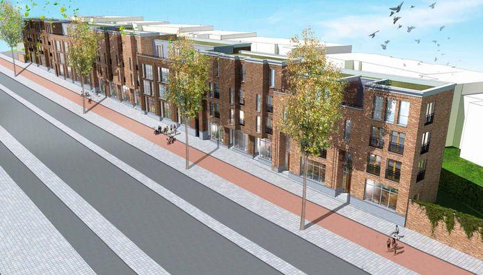 Een voorlopig ontwerp van de te bouwen huizen op het voormalige Neproma-terrein in Arnhem. Illustratie: Arnhemse Heeren