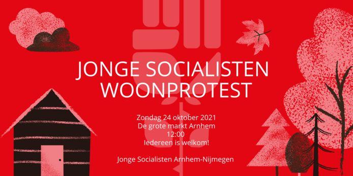 Aankondiging van het woonprotest in Arnhem.