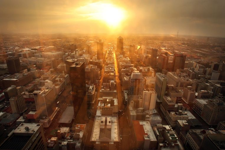 Het centrum van de Zuid-Afrikaanse stad Johannesburg. Beeld EPA