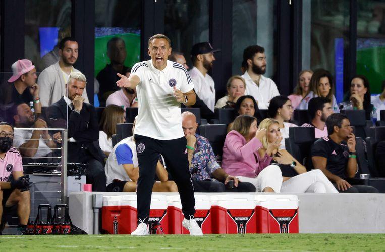 Inter Miami-coach Phil Neville zaterdag tijdens de wedstrijd tegen Toronto FC (3-1). Beeld AP