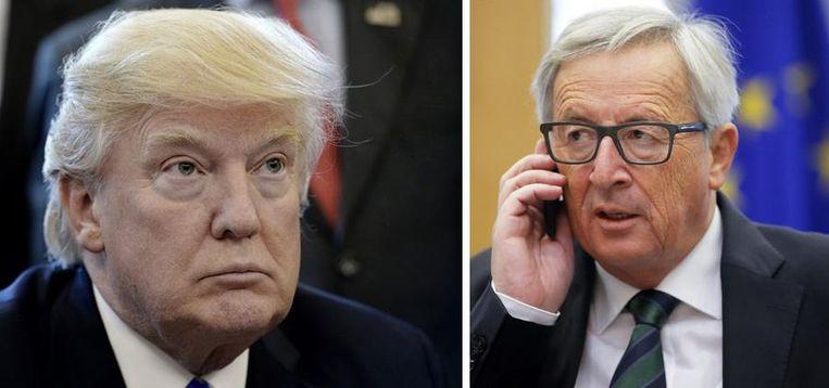 De Amerikaanse president Donald Trump en Europees Commissievoorzitter Jean-Claude Juncker. Beide leiders zeggen een