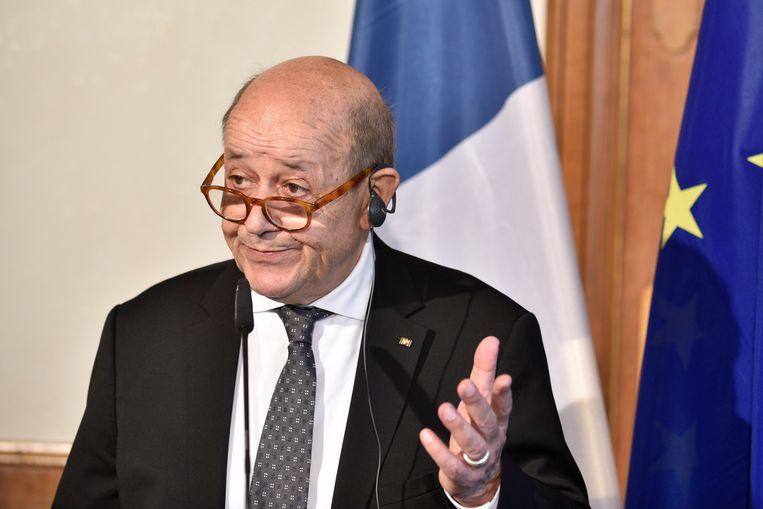De Franse minister van Buitenlandse Zaken Jean-Yves Le Drian. Beeld EPA