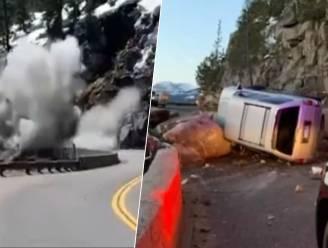 Explosie verwijdert wegversperring waar auto op knalde