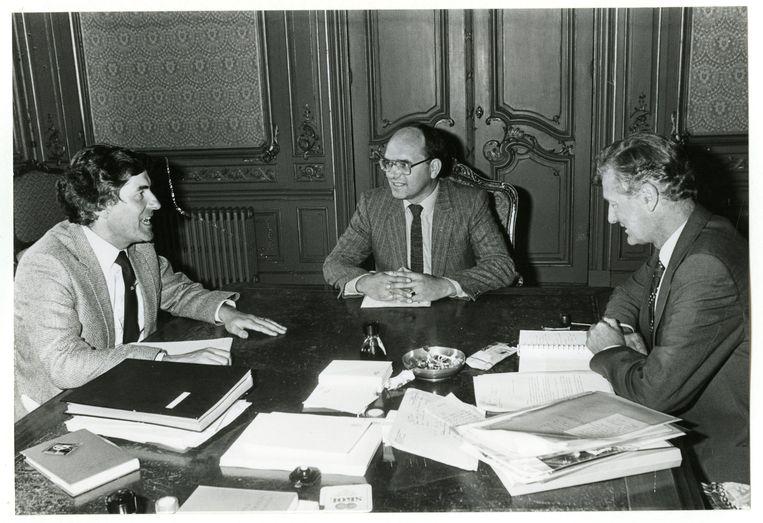 De kabinetsinformateurs drs. R.F.M. Lubbers en dr. J. de Koning ontvangen de fractieleider van de RPF, Meindert Leerling, voor advies inzake de kabinetsformatie van 1981. Beeld ANP