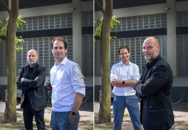 Wethouder Peter Heijkoop (CDA, Dordrecht, wit overhemd) en Rutger Groot Wassink (GroenLinks, Amsterdam) stelden samen een Deltaplan bestaanszekerheid op.