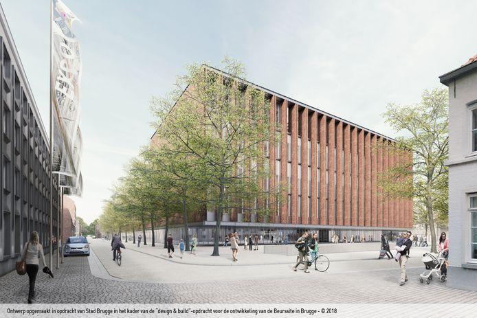 Een toekomstbeeld van het Beursgebouw vanaf de Hauwerstraat