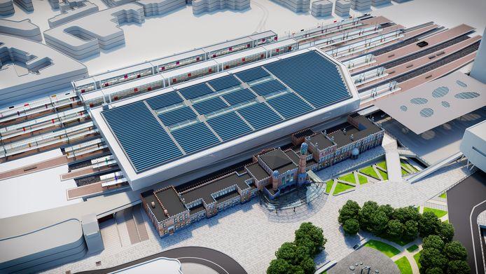 Op de toekomstbeelden zijn de aanpassingen duidelijk zichtbaar. De perrons langs de Sint-Denijslaan, aan de achterzijde van het station, behoren tot het oorspronkelijke ontwerp en steken duidelijk uit boven de rest van het dak.