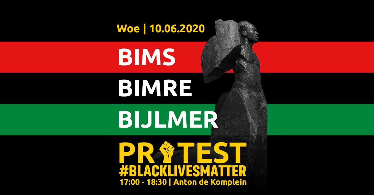 De aankondiging van de demonstratie in de Bijlmer.