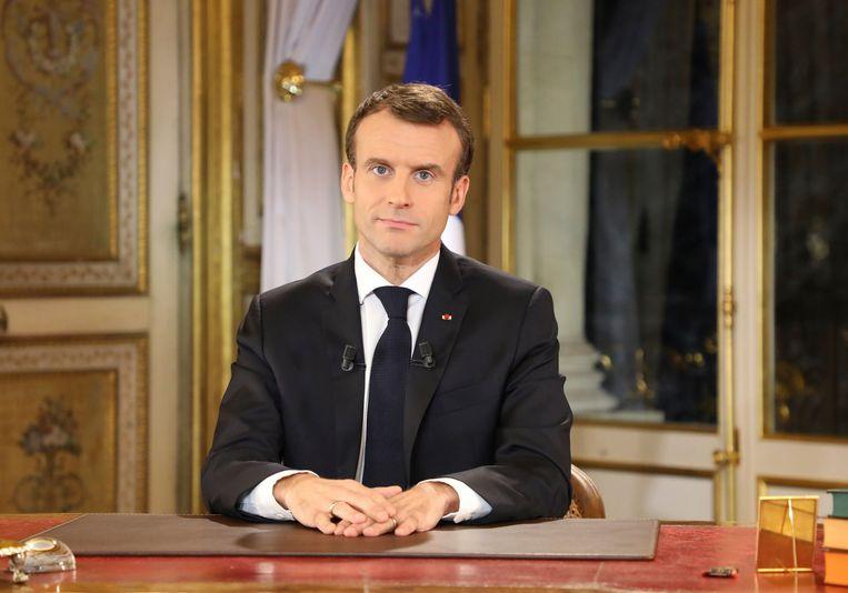 Frans president Emmanuel Macron tijdens zijn toespraak. Beeld Photo News
