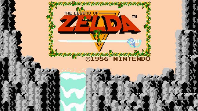 Het titelscherm van The Legend of Zelda (1987).
