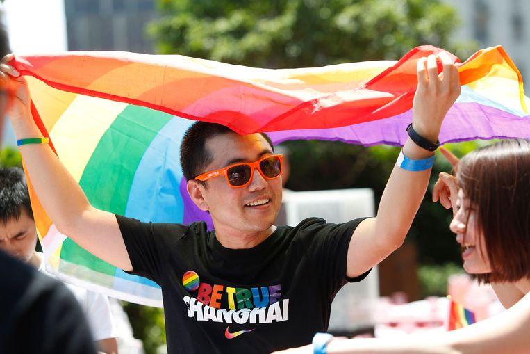 De Shanghai Pride in 2017. Vorig jaar stopte de Pride vanwege toegenomen repressie. Beeld Hollandse Hoogte / AFP