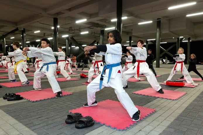 De karatelessen van Sportschool Da Graça in Zoetermeer vinden vanwege de coronapandemie buiten plaats nabij De Boerderij aan de Amerikaweg.