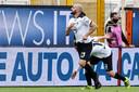 Spezia-speler Riccardo Saponara juicht na zijn treffer tegen Torino.