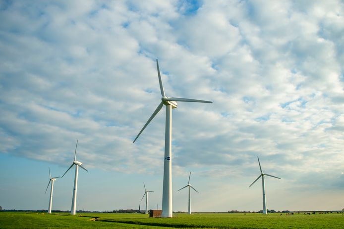 Windmolens in het Flevolandse landschap. Foto ter illustratie.