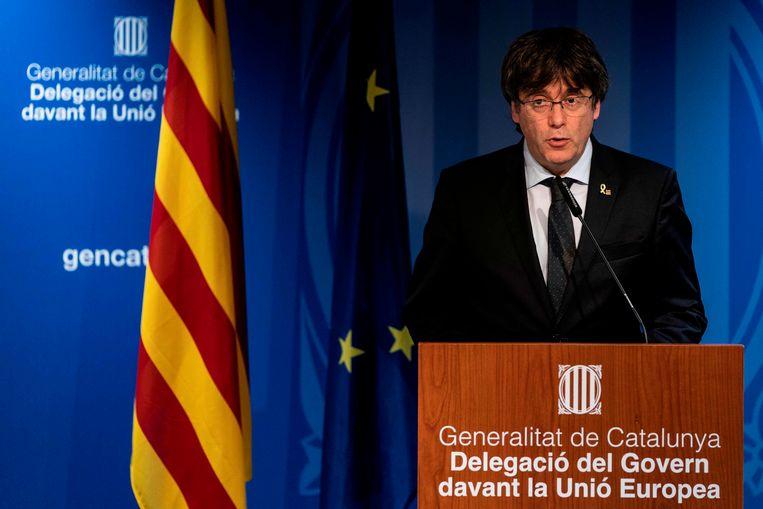 Voormalig Catalaans regeringsleider Carles Puigdemont gaf een persconferentie in Brussel. Beeld AFP