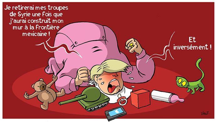 Nicolas Vadot dessine régulièrement Donald Trump en enfant capricieux.