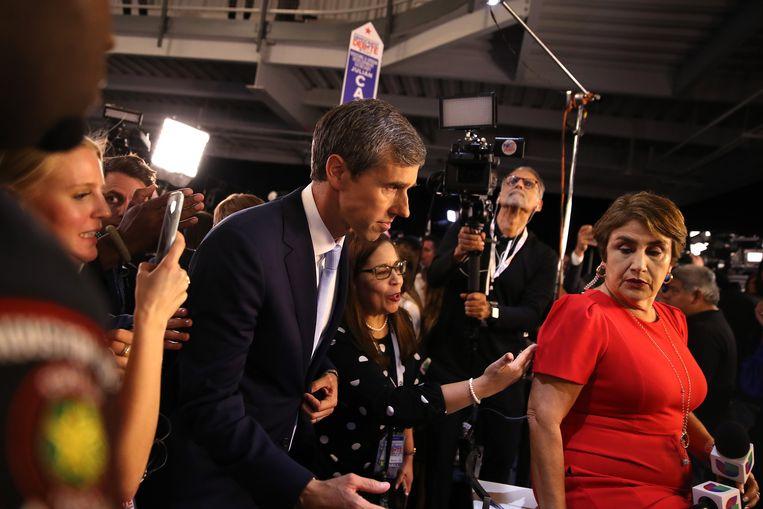 De Democratische presidentskandidaat Beto O'Rourke na het debat van donderdag in Houston. Beeld Getty Images