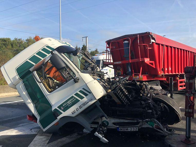 Beeld van het ongeval op de E19.