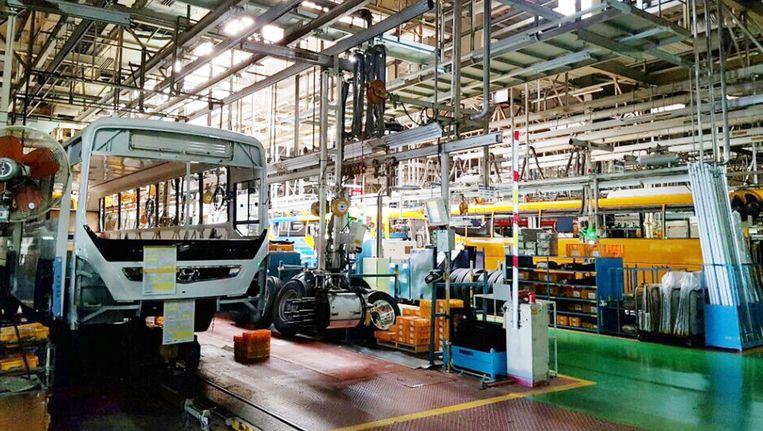 De band bij Hyundai in Jeonju, Zuid-Korea, ligt stil door de eerste staking in 12 jaar. Beeld EPA