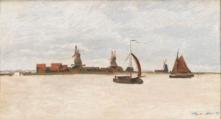 De verdachten van de mislukte kunstroof op het Zaans Museum hadden het voorzien op het schilderij De Voorzaan en de Westerhem van Claude Monet. Beeld Collectie Zaans Museum