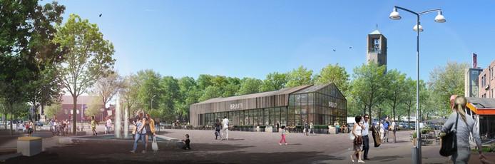 Artist impression van het nieuwe horecapaviljoen in Emmeloord.