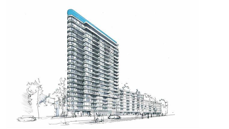 Een schets van het gebouw in het Amstelkwartier Beeld -