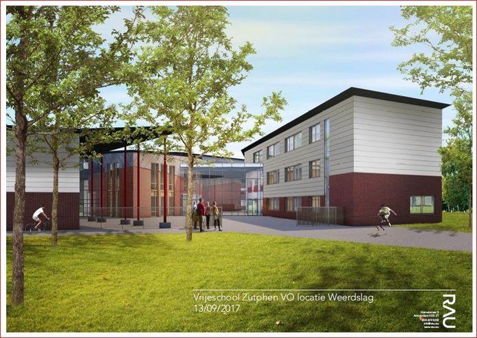 De Vrijeschool Zutphen aan de Weerdslag krijgt een extra vleugel (rechterkant). Ook de glazen pui is nieuw.