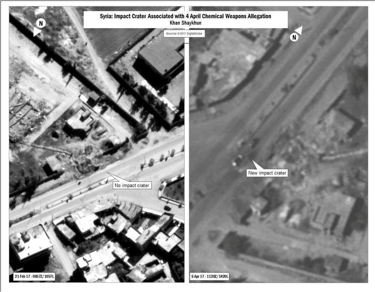 Een combinatiefoto van het Amerikaans ministerie van Defensie waarop de impact van de gifgasaanval dinsdag te zien zou zijn. Beeld REUTERS