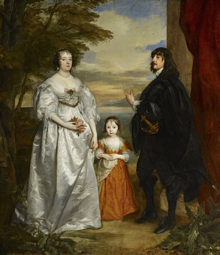 Antoon van Dyck, Lord Frick, the seventh earl of Derby, with his wife, Charlotte and their daughter, ca 1636. Beeld The Frick Collection