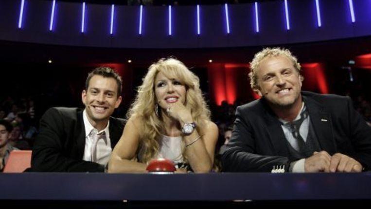 De jury van het RTL-programma Holland's Got Talent 2010 met Dan Karaty, Patricia Paay en Gordon (VLNR). ANP Beeld