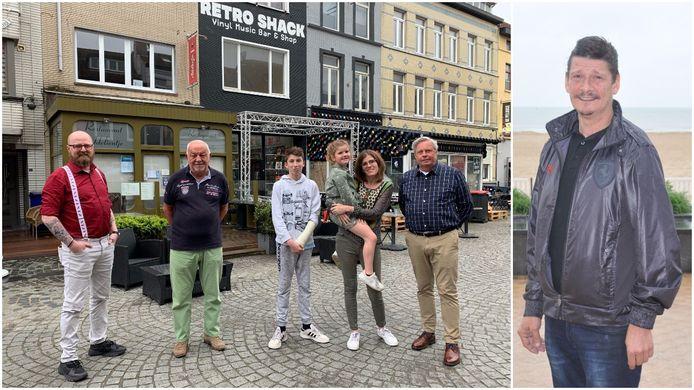 Linkse foto: Chef Sven Proot, zaalhulp Raymond Bens, kinderen Julian en Amelie bij mama Cindy Wellecomme, en zaalhulp Wim Meysman. Rechts: Chris Boucquez, die vorig jaar op 52-jarige leeftijd overleed.
