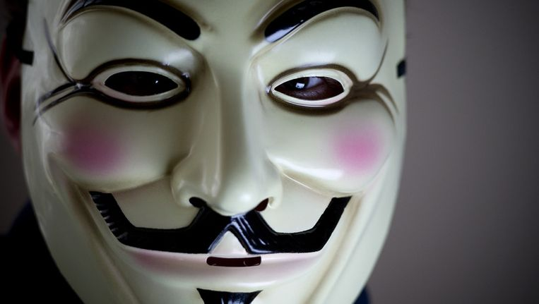 Masker dat veel gebruikt wordt door leden van hackerscollectief Anonymous Beeld ANP