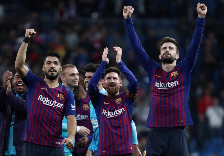 Koningen van het Bernabéu: Suarez, Messi en Piqué, de beste man op het veld.