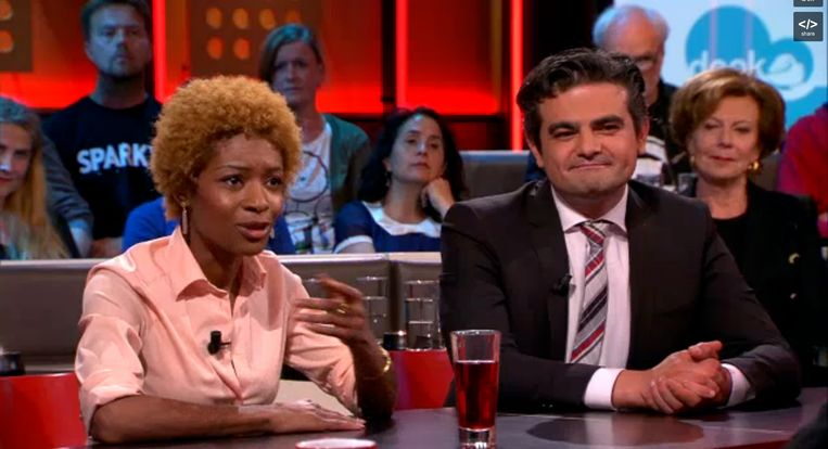 Sylvana Simons en Tunahan Kuzu, beiden van de partij Denk, in 'De wereld draait door'. Beeld Rechtenvrij