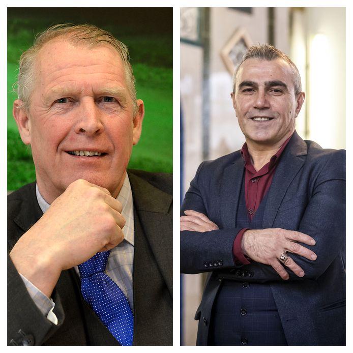 Links lokaal PVV-voorman Jan Willem Elferink, rechts moskeevoorzitter Abdurrahman Bicici.