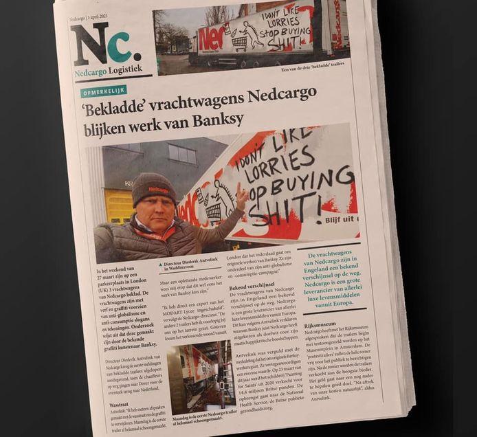 Nedcargo deelde de 1 aprilgrap over Banksy.