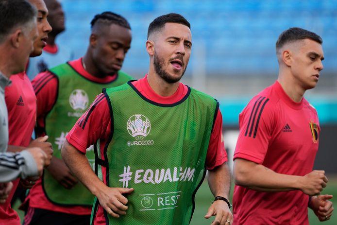 Eden Hazard et 23 autres Diables ont participé au dernier entraînement avant d'affronter la Russie, samedi soir, à Saint-Pétersbourg.