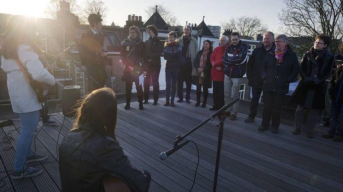 Band op dakterras in Burgemeesterskwartier. foto Marina Popova