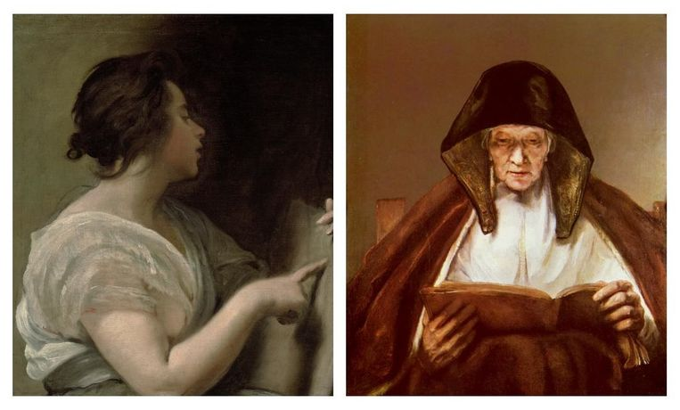 Velázquez, Vrouwelijke figuur (Sibille), 1648 en Rembrandt, Lezende oude vrouw (profetes), 1655. Beeld