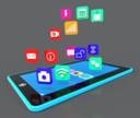 Deze afbeelding laat een voorbeeld zien van apps met verschillende kleuren en met pictogrammen in plaats van tekst.