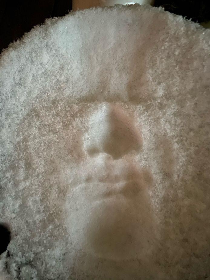 Een sneeuwselfie in Den Haag, noemt Miranda van Lobenstein haar sneeuwfoto.