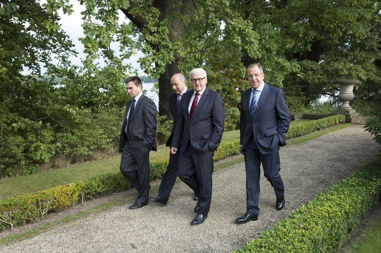 Ministers van Buitenlandse Zaken van Frankrijk (L), Oekraïne, Duitsland en Rusland. Beeld getty